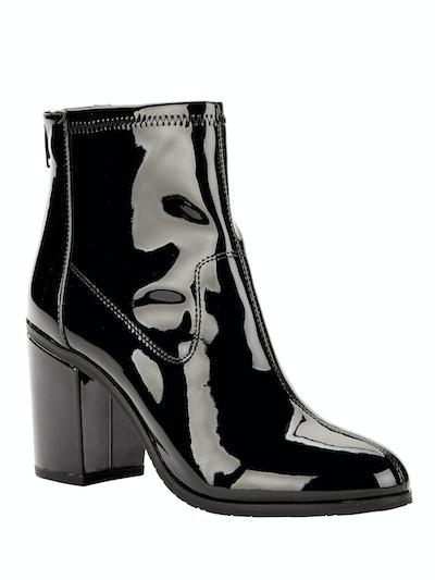 Vegan Patent Leather Back Zip Block Heel Bootie