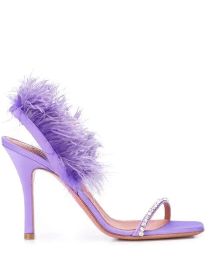 Feather Trim Sandals