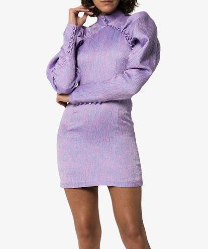 Puff-Sleeve Mini Dress
