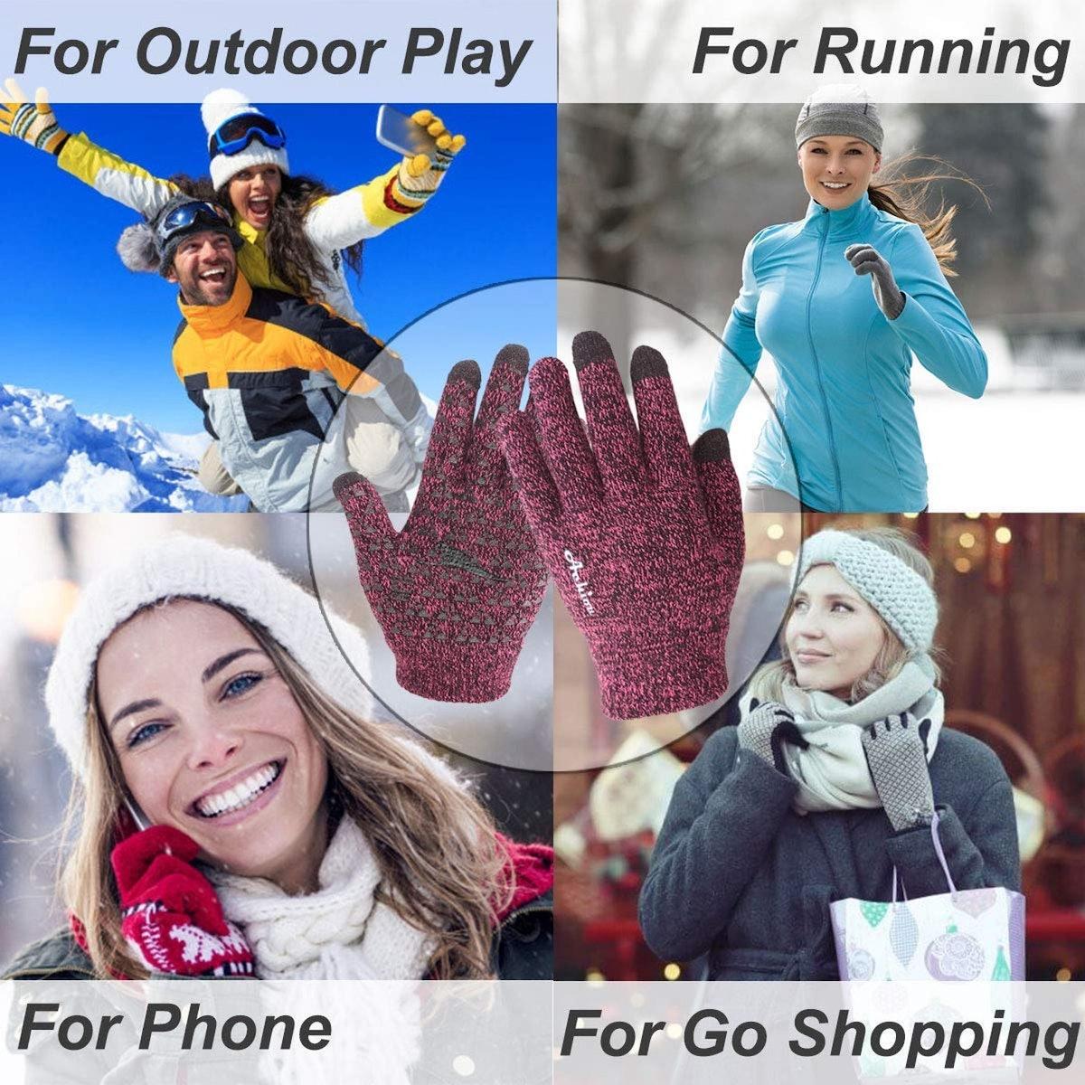 Achiou Winter Knit Gloves Touchscreen