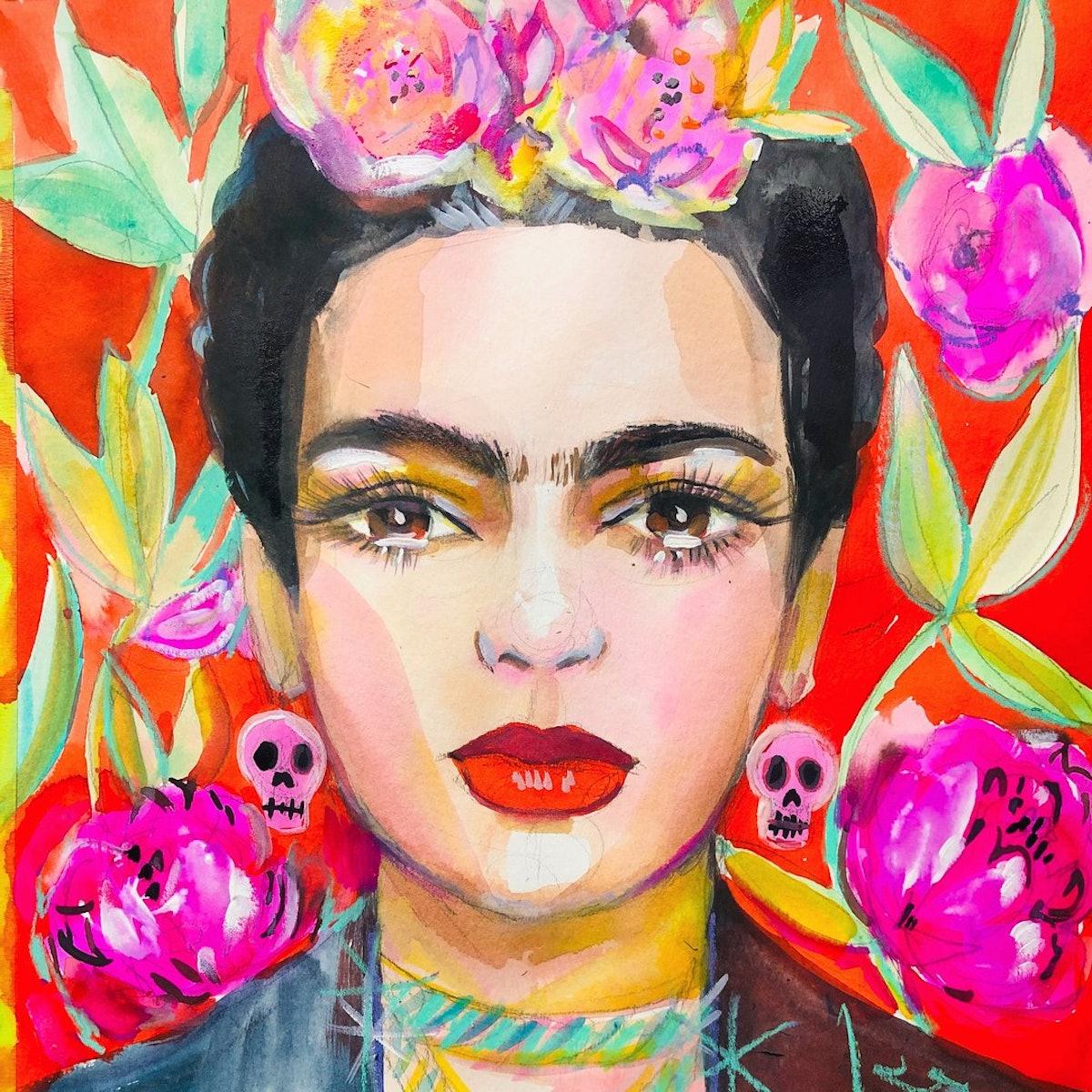 """Frida. 12""""x12"""" Original Watercolor Painting"""
