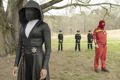 Regina King as Sister Knight and Andrew Howard as Red Scare in 'Watchmen'