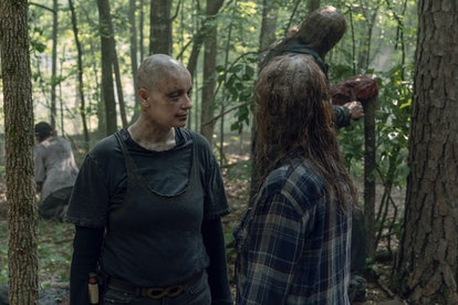 Samantha Morton as Alpha, Thora Birch as Gamma, and Ryan Hurst as Beta in The Walking Dead Season 10