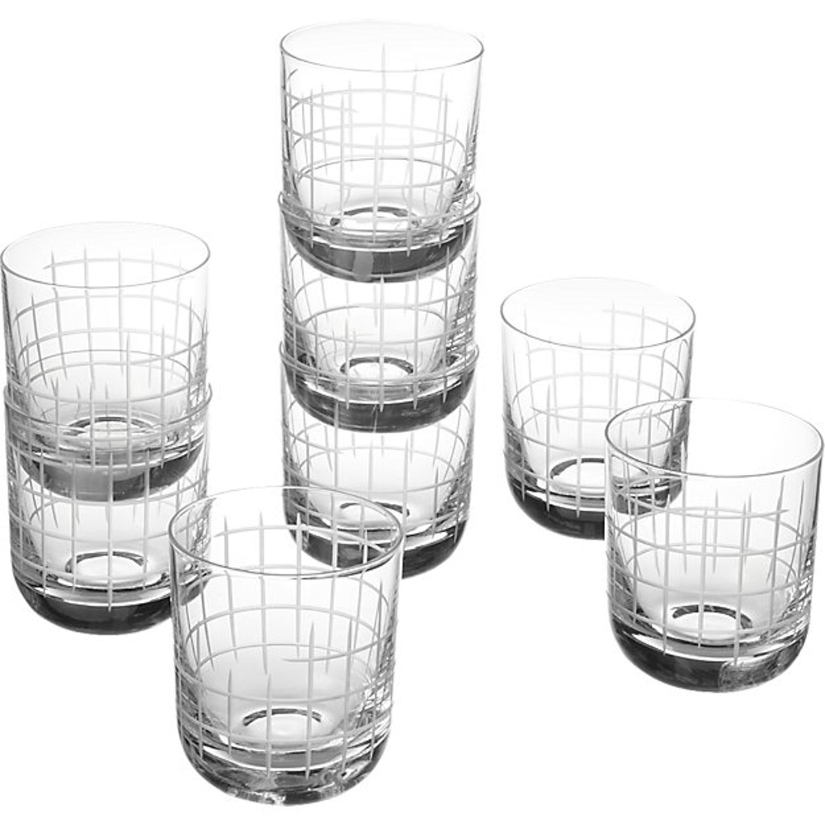 Watson Etched Double Old-Fashioned Glass Set Of 8