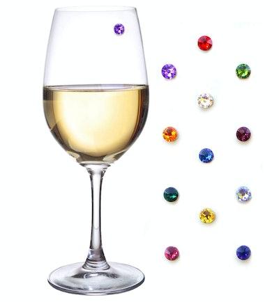 Swarovski Crystal Magnetic Wine Glass Charms Set of 12