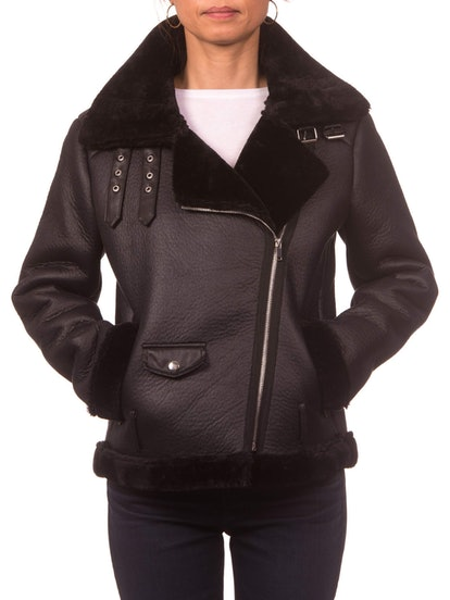 Faux Shearling Moto Jacket with Buckle Collar
