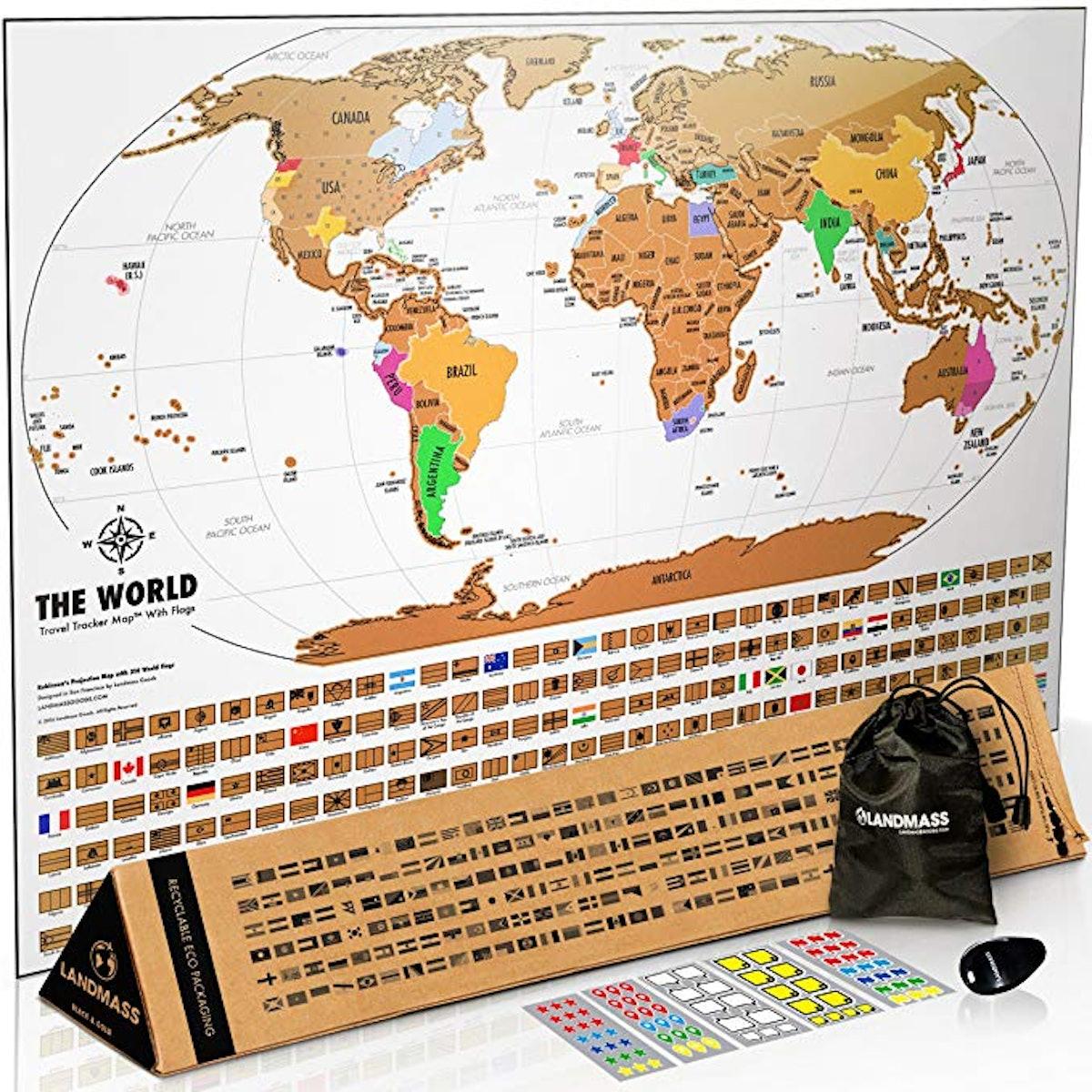 Landmass Goods Scratch Off Map Poster