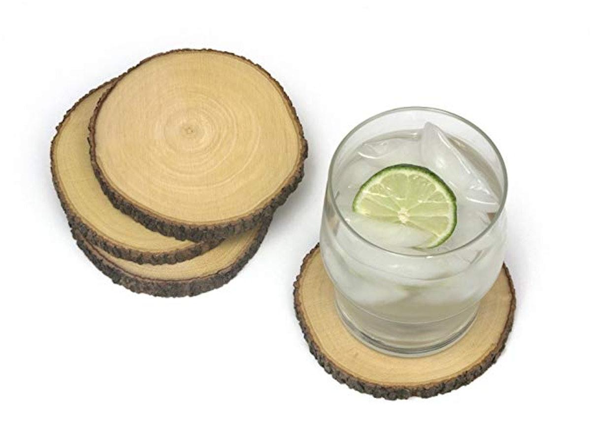 Lipper International Acacia Tree Bark Coasters