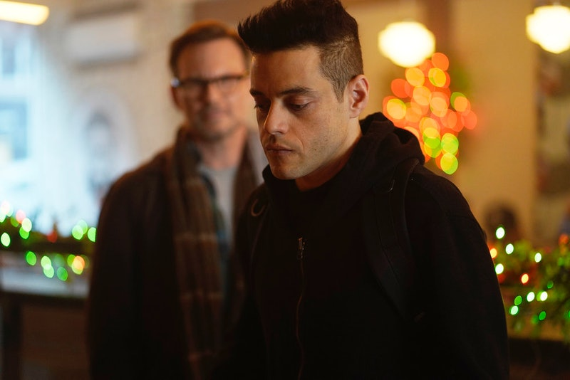 Rami Malek as Elliot Alderson and Christian Slater as Mr. Robot in Mr. Robot