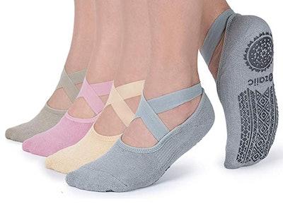 Non Slip Socks for Yoga Pilates Barre Fitness Hospital Socks (4-Pack)