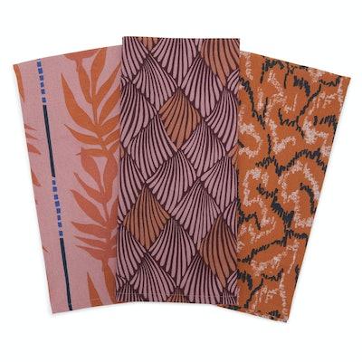 Abstract Leopard Kitchen Towel 3 Piece Set, Incandescent Orange