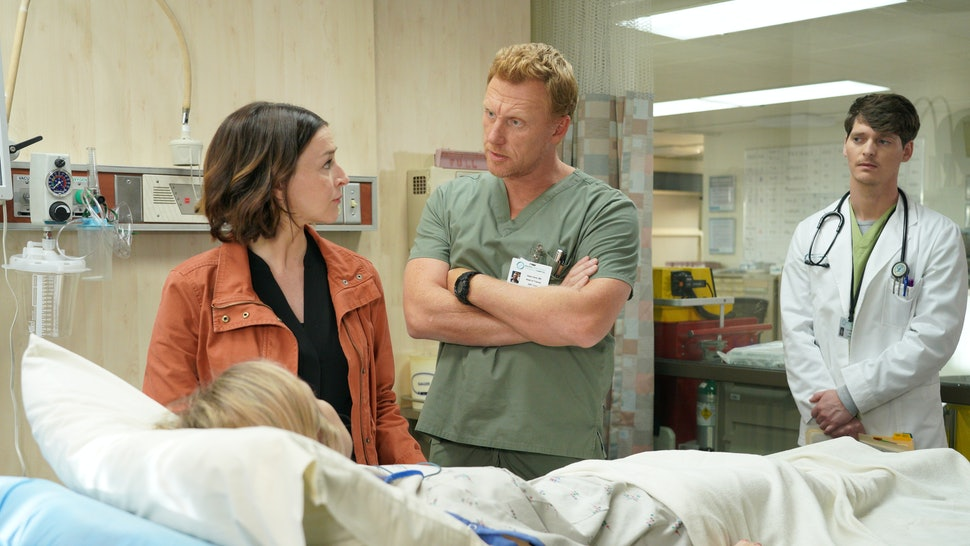"Owen and Amelia argued about abortion on Grey's Anatomy's Nov. 7 episode, ""Papa Don't Preach."" (Pictured: Actors Kevin McKidd and Caterina Scorsone)"