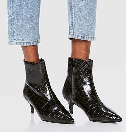 find. Women's Kitten Heel Point Toe Animal Ankle Boots