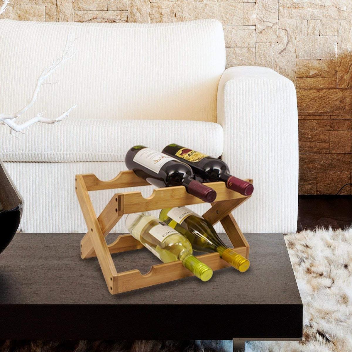 Sorbus Bamboo Foldable Wine Rack