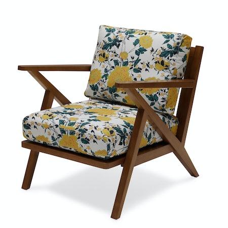 Vintage Floral Mid-Century Accent Chair