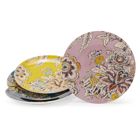 Tropical Toile Floral Mix and Match 4 Piece Appetizer Plate Set