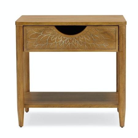 Bohemian Carved Wood Nightstand