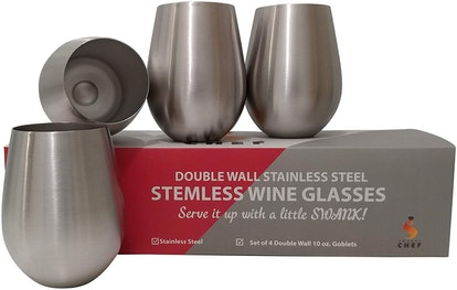 Swanky Chef Stainless Steel Wine Glasses (Set of 4)