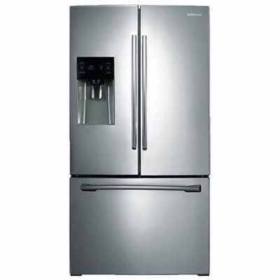 SAMSUNG 24.6 Cu. Ft. 3-Door French Door Refrigerator with External Water and Ice Dispenser, Stainless Steel - RF263BEAESR