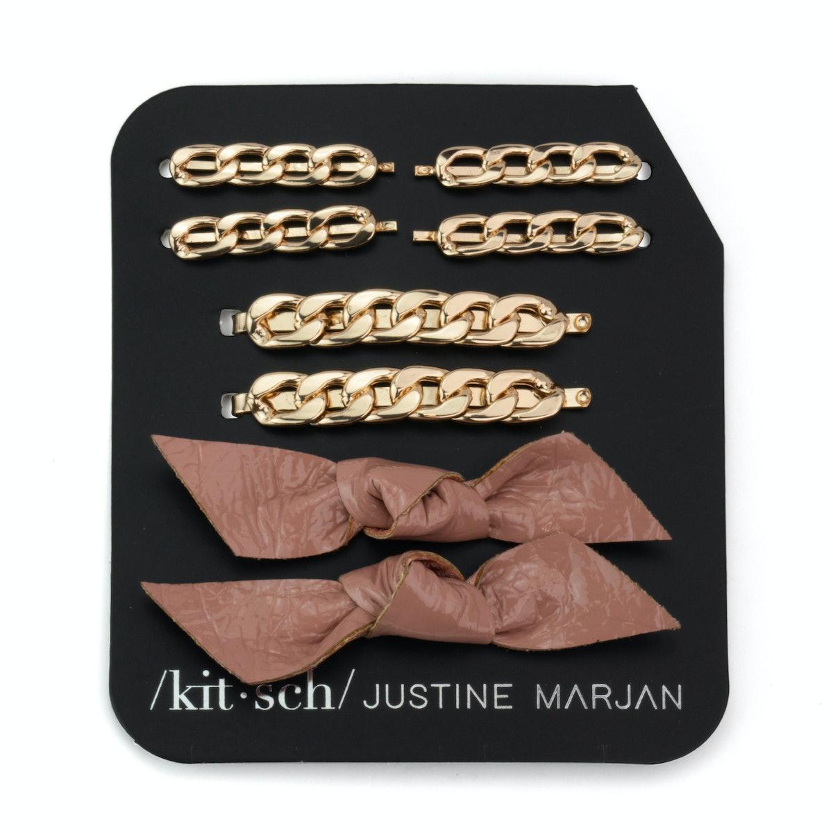 Kitsch x Justine Marjan Chain & Bow Bobby Pin — 8 PC Set