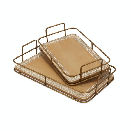 Wood and Metal Decorative Tray with Vintage Palm Leaf Trim