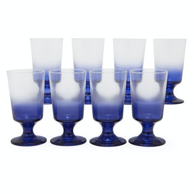 Grecian Blue Ombre Glass Drinkware Set, 8 Piece