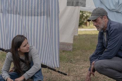 Cassady McClincy as Lydia and Jeffrey Dean Morgan as Negan in The Walking Dead Season 10
