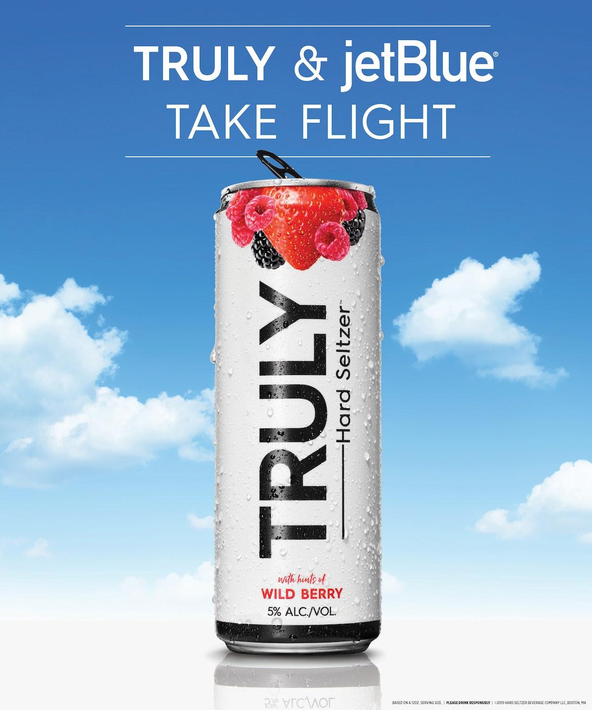JetBlue is serving Truly Hard Seltzer on flights.