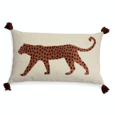 """Walking Leopard Boucle Embroidered Decorative Throw Pillow, 24x14"""""""