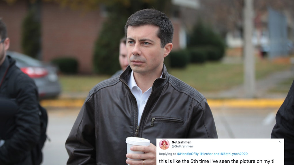 Pete Buttigieg holding a coffee cup