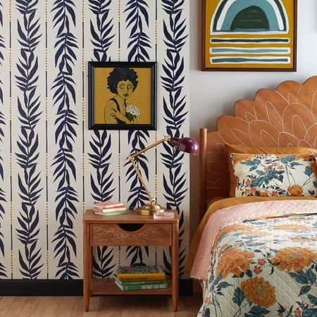 Navy Vintage Palm Peel and Stick Wallpaper