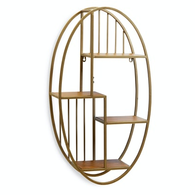 Wood and Antique Brass Oval Wall Shelf