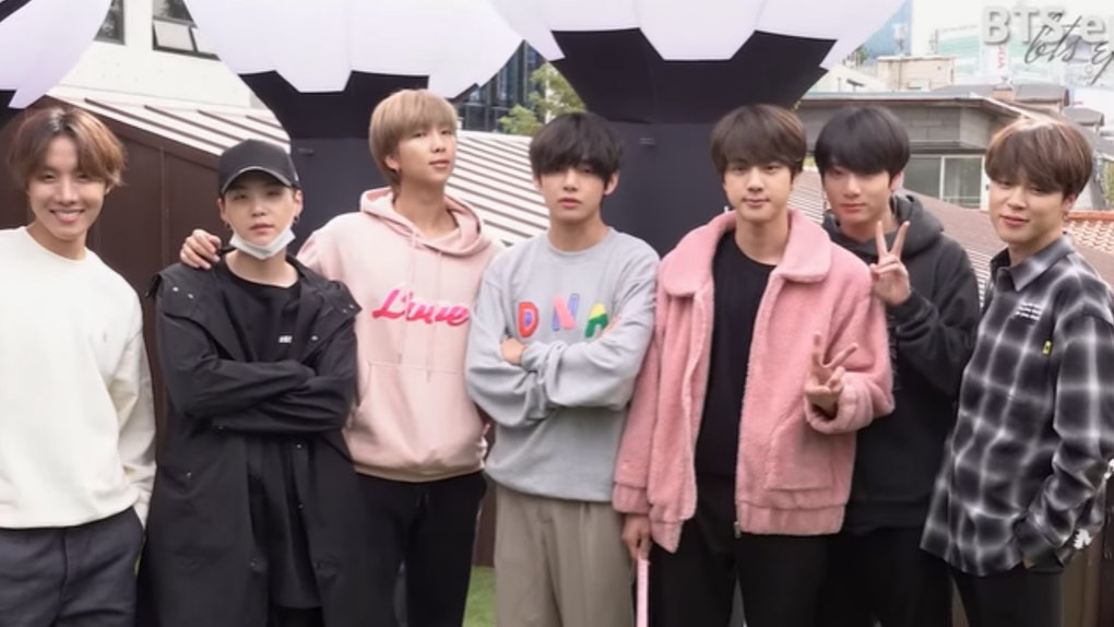 BTS visiting the House of BTS pop-up shop in Korea