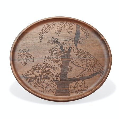 Tropical Toile Engraved Wood Serving Tray