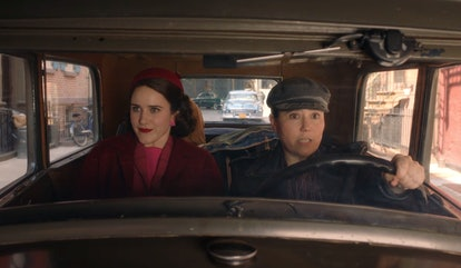 Rachel Brosnahan as Midge Maisel and Alex Borstein as Susie Myerson in The Marvelous Mrs. Maisel