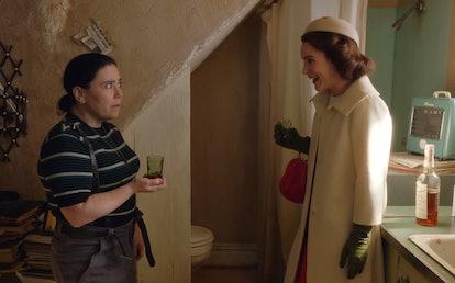 Alex Borstein as Susie Myerson and Rachel Brosnahan as Midge Maisel in The Marvelous Mrs. Maisel