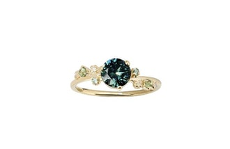 Green Sapphire and Tourmaline Organic Crossover Ring