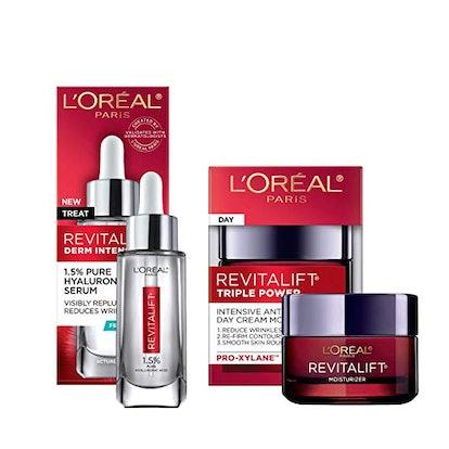L'Oreal Paris Skin Care Revitalift Hyaluronic Acid Facial Serum and Triple Power Face Moisturizer Anti-Aging Skin Care Set