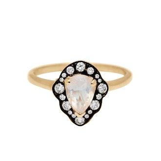 Camellia Petal Moonstone Ring