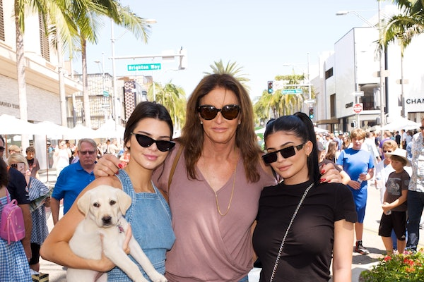 Kendall, Kylie, and Caitlyn Jenner strike a post.