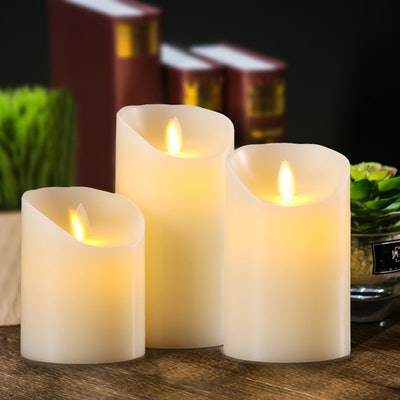 Aku Tonpa Flameless Flickering Candles (Set of 3)