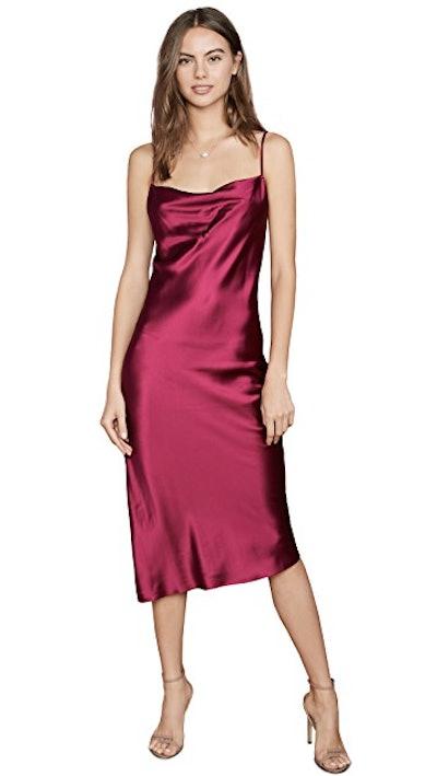 Cowl Neck Slip Dress With Slit