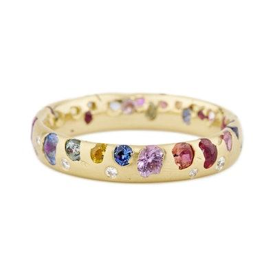 Rainbow Confetti Ring with Diamonds