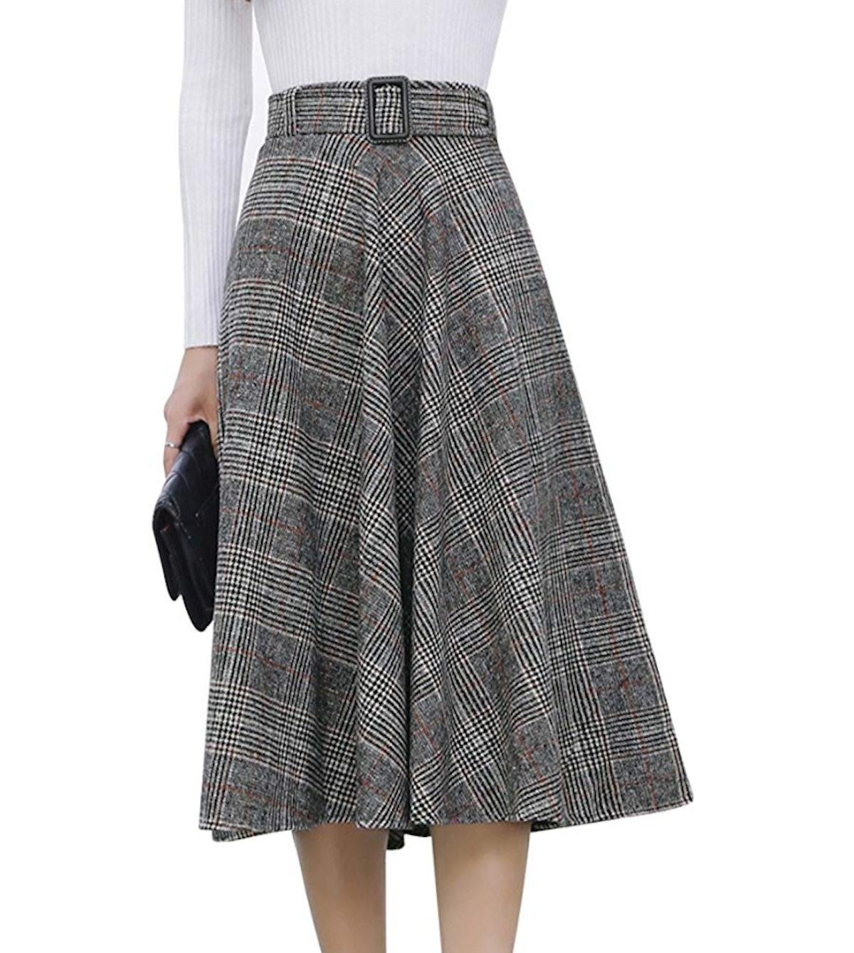 Tanming Elastic Waist Wool Midi Skirt