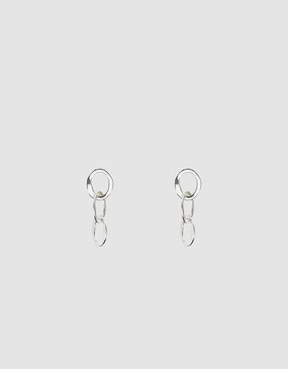 Silver Oval Chain Earrings