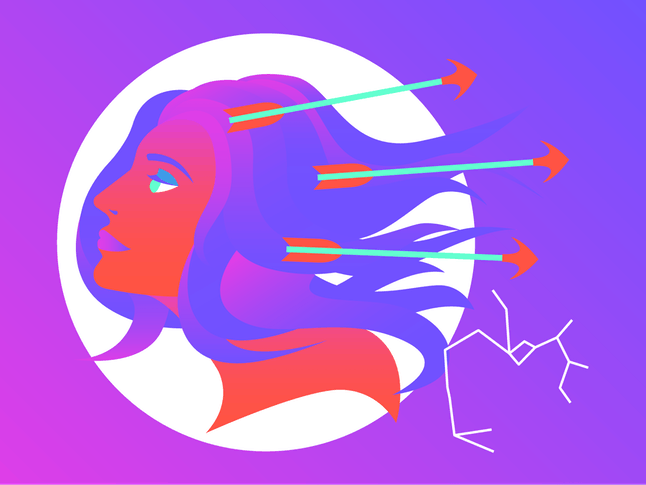 Drawing of the Sagittarius horoscope sign.