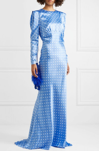 Open-back polka-dot silk-satin gown