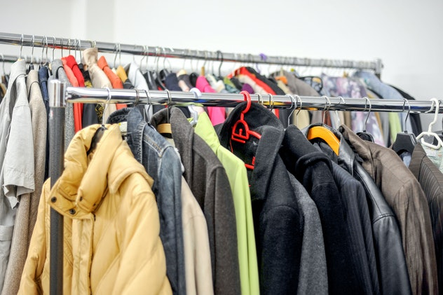 where to donate winter coats; Coats hanging on a garment rack
