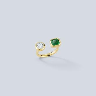 Bespoke Emerald and Diamond Bezel Set Open Ring