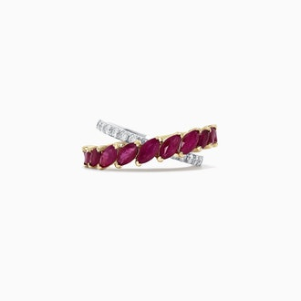 Ruby Royale 14K 2-Tone Gold Ruby and Diamond Ring
